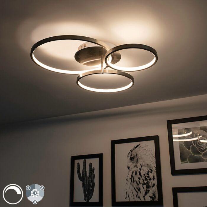 Plafón-moderno-acero-LED-regulable---RONDAS
