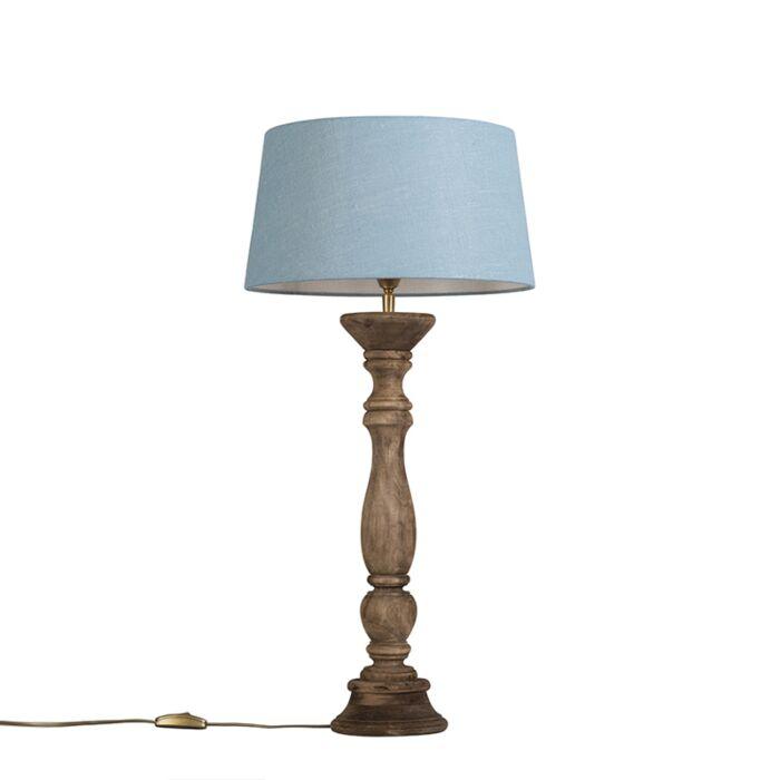 Lámpara-de-mesa-gris-con-natural-35-cm-azul-claro