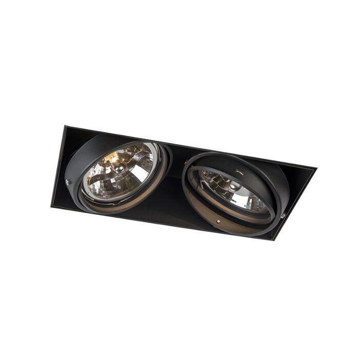 Foco-empotrable-negro-AR111-giratorio-e-inclinable-trimless-2-luces---Oneon