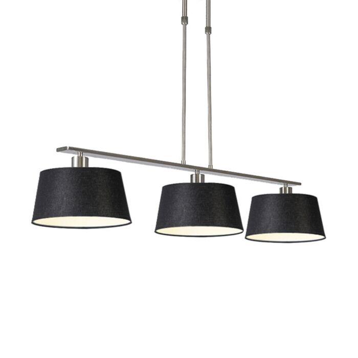 Lámpara-colgante-moderna-acero-pantallas-negras-35cm---COMBI-3-Deluxe