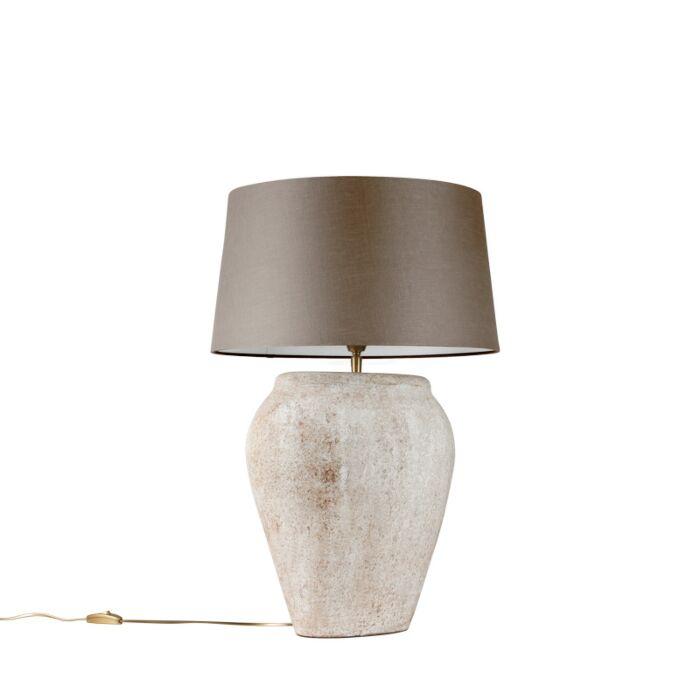Lámpara-de-mesa-BLAVA-ovalada-escocesa-pantalla-45cm-taupe