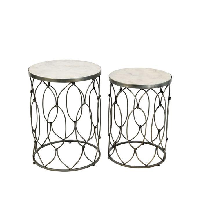 Set-de-2-mesas-auxiliares-de-acero-y-blanco-de-mármol-blanco---MARM