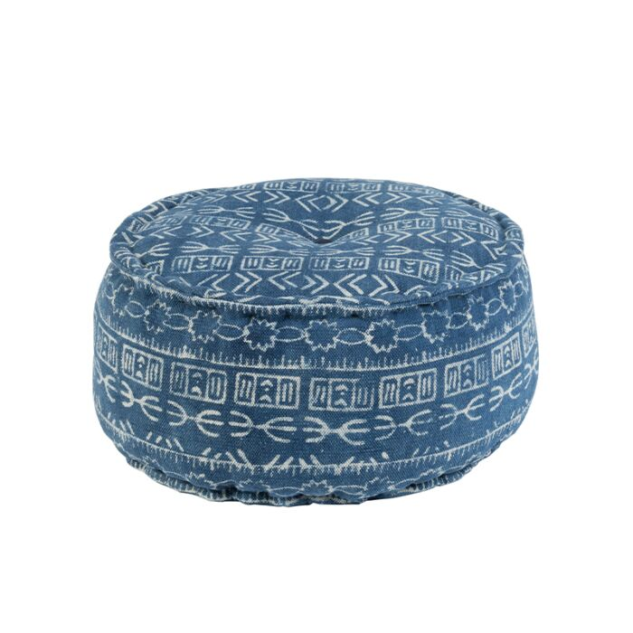 Puf-redondo-oriental-Ø60cm-azul---VANARASI