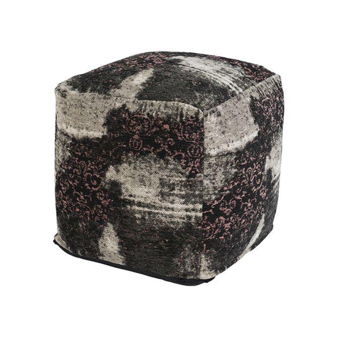 Puf-vintage-cuadrado-rosa/negro-45-x-45-x-45cm---PURI