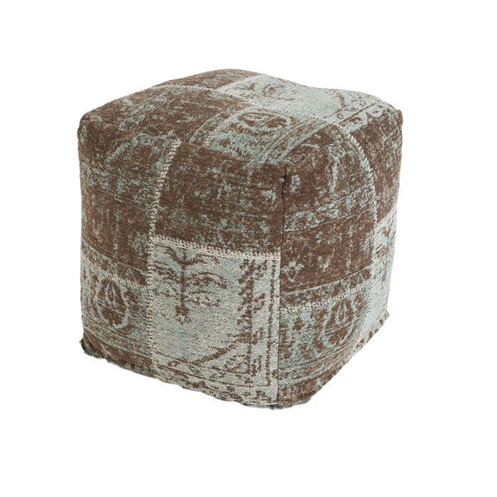 Puf-vintage-cuadrado-turquesa/marrón-45-x-45-x-45cm---AGRA
