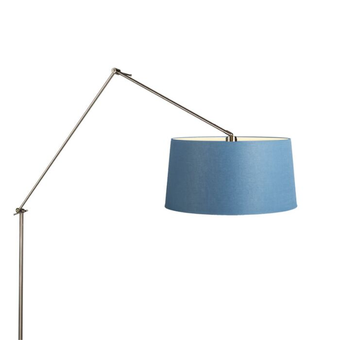 Lámpara-de-pie-EDITOR-acero-con-pantalla-45cm-azul