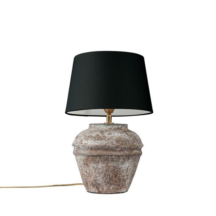 Lámpara-de-mesa-rústica-marrón-pantalla-negra---ARTA-XS-Vintage