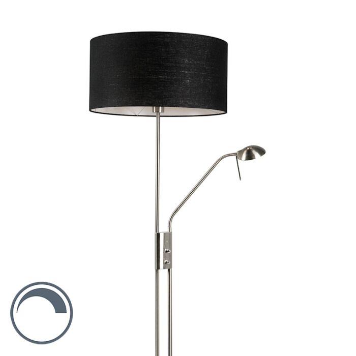 Lámpara-de-pie-acero-pantalla-negra-flexo---LUXOR