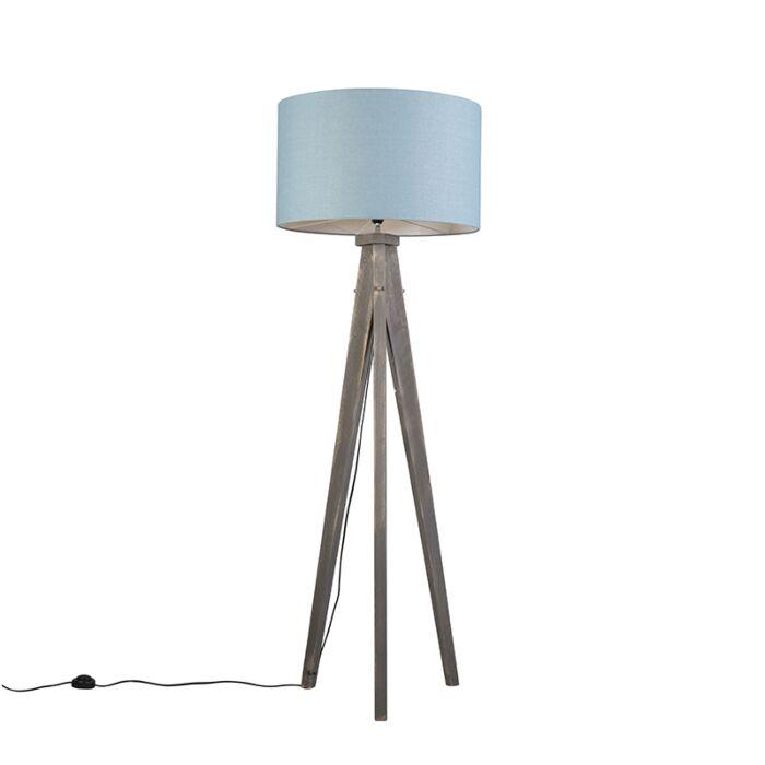 Lámpara-de-pie-KAROS-gris-con-pantalla-55-cm-azul-claro