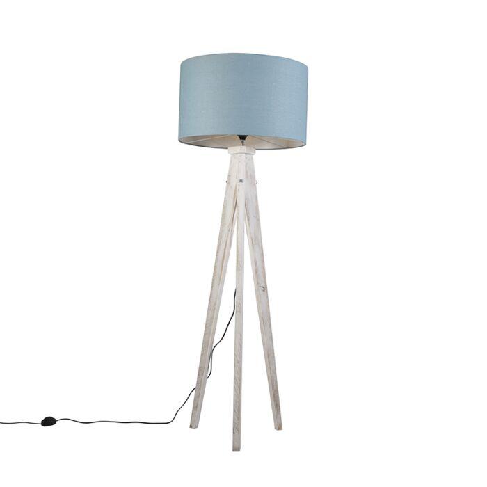 Lámpara-de-pie-KAROS-blanca-con-pantalla-55-cm-azul-claro