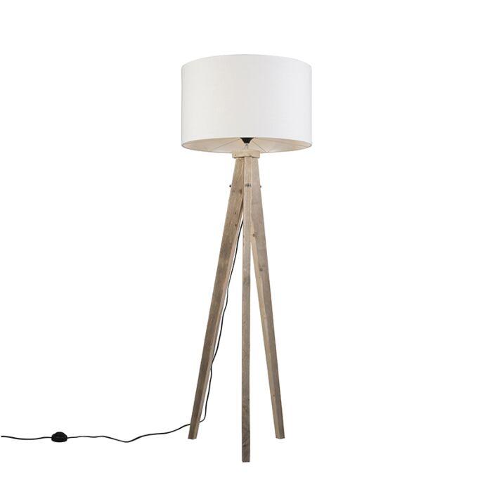 Lámpara-de-pie-KAROS-natural-con-pantalla-55-cm-blanca
