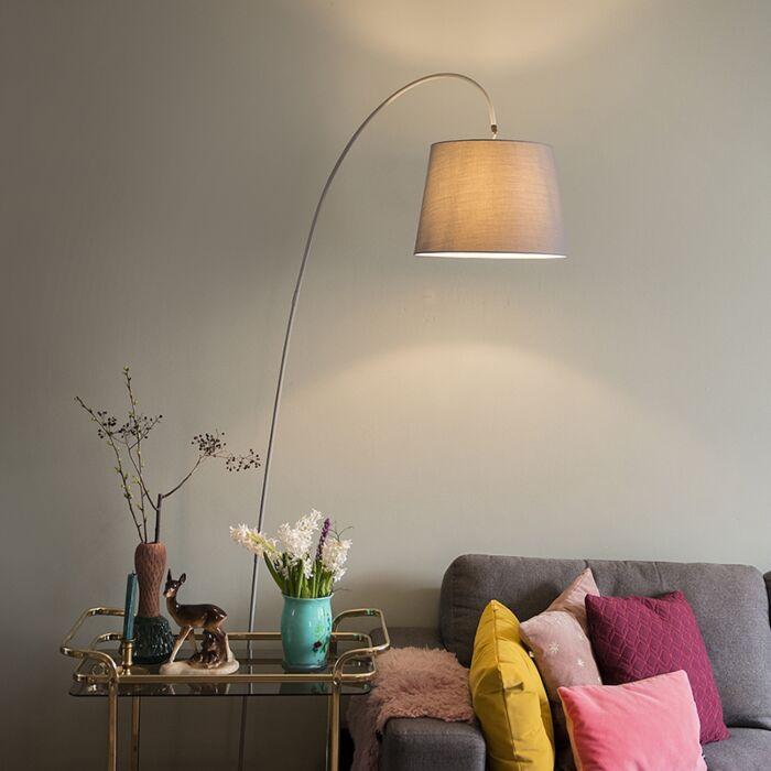 Lámpara-de-arco-moderna-pantalla-gris---BEND