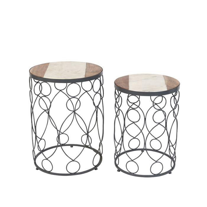 Set-de-2-mesas-auxiliares-hormigón-y-madera-y-mármol---MARM