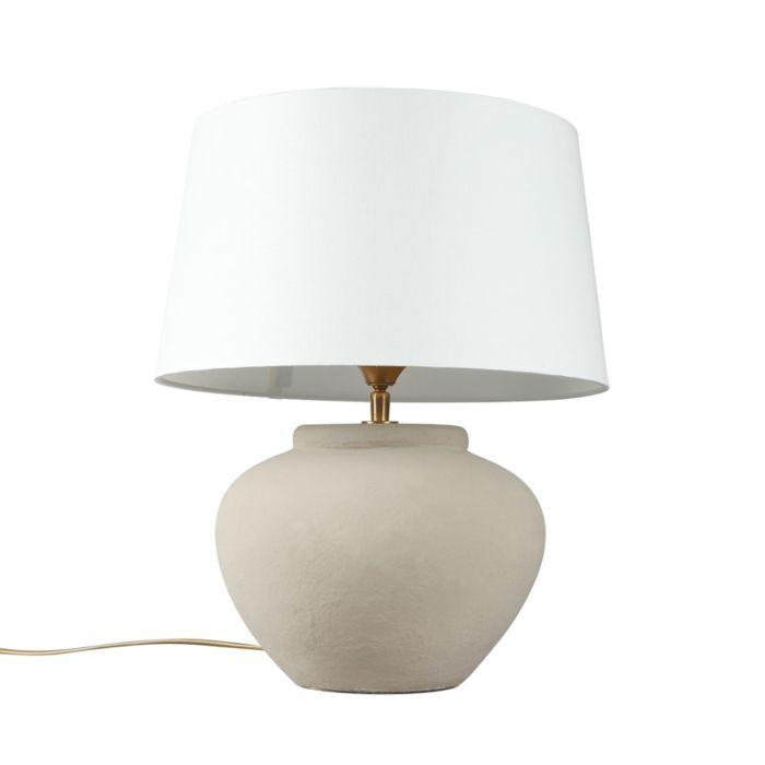 Lámpara-de-mesa-PALMA-XS-gris-con-pantalla-35cm-blanca