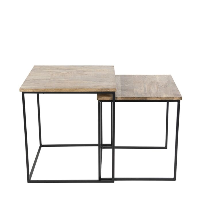 Set-de-2-mesas-auxiliares-negro-con-madera-cuadradas---HEMIS