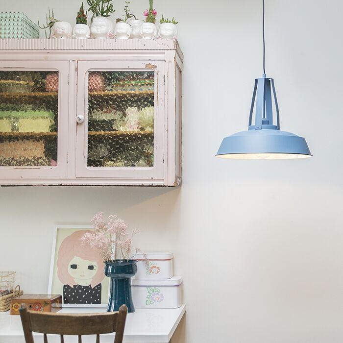 Lámpara-colgante-vintage-azul-43cm---LIVING