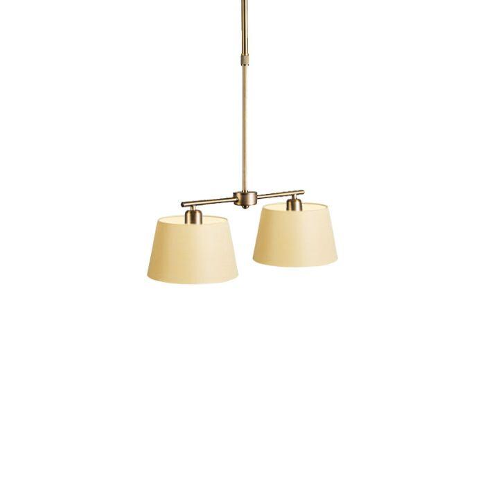 Lámpara-colgante-MIX-2-bronce-con-regulador-con-pantalla-20cm-crema