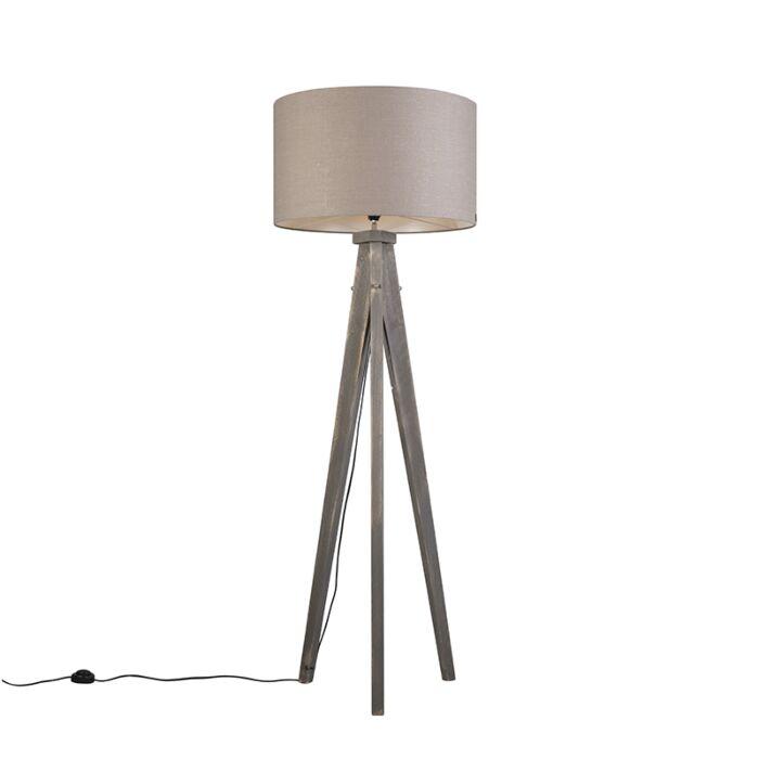 Lámpara-de-pie-KAROS-gris-con-pantalla-55-cm-gris