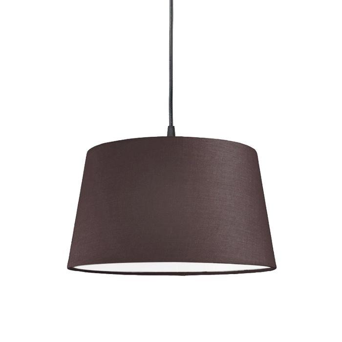 Lámpara-colgante-PENDEL-80cm-E27-negra-con-pantalla-45cm-gris-marronáceo