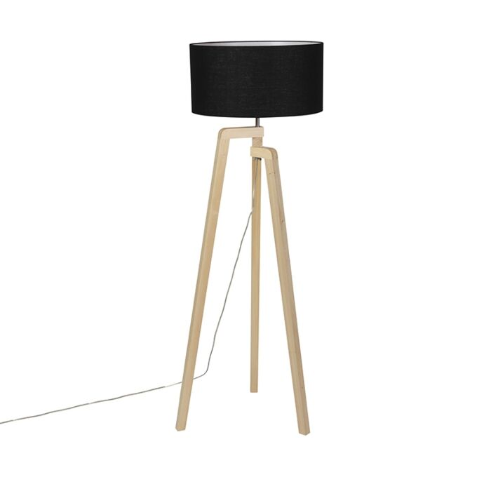Trípode-moderno-madera-pantalla-negra-45cm---PUROS
