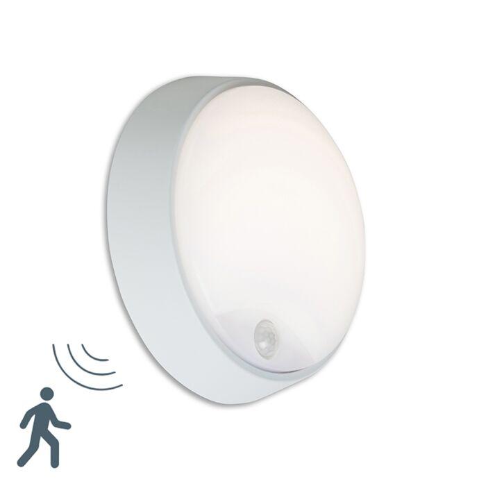 Aplique-HORTUS-LED-con-sensor-PIR-IP54-redondo-gris