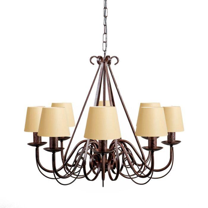 Lámpara-de-araña-GIUSEPPE-8-marrón-con-pantallas-de-gancho-12cm-crema