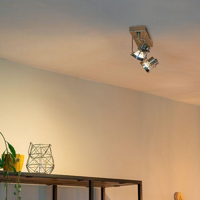 Plafón-industrial-acero-2-luces-giratorio---SUPLUX