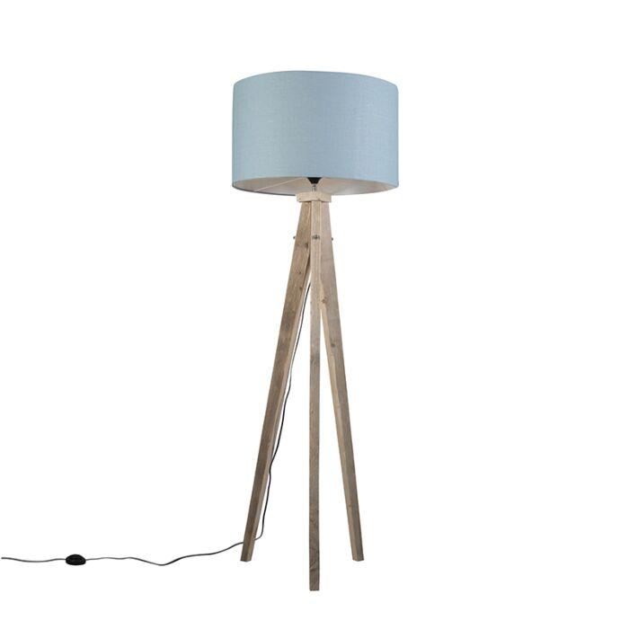 Lámpara-de-pie-KAROS-natural-con-pantalla-55-cm-azul-claro