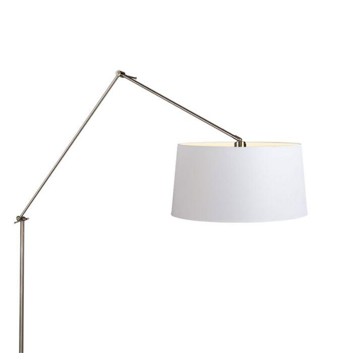 Lámpara-de-pie-EDITOR-acero-con-pantalla-45cm-blanca