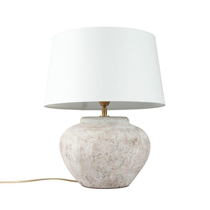 Lámpara-de-mesa-PALMA-XS-escocesa-con-pantalla-35cm-blanca