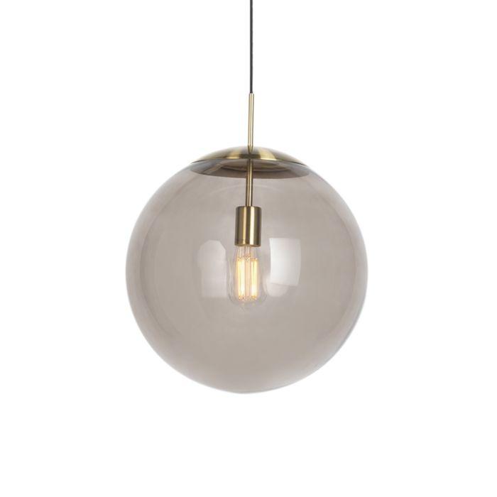 Lámpara-colgante-moderna-latón-vidrio-ahumado-40cm---BALL
