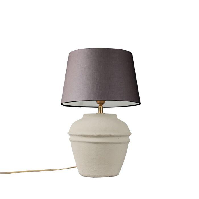 Lámpara-de-mesa-ARTA-XS-gris-con-pantalla-25cm-gris-marronáceo
