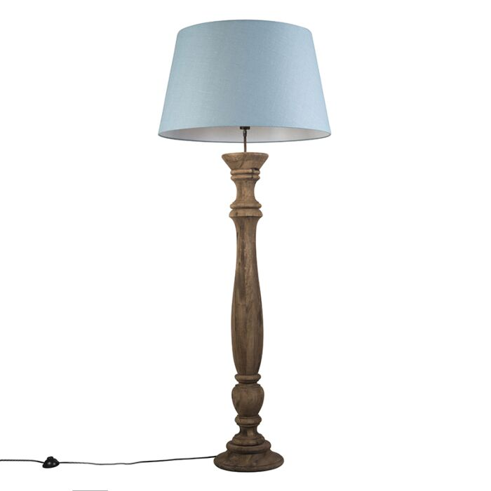 Lámpara-de-pie-RITUAL-natural-con-pantalla-70-cm-azul-claro
