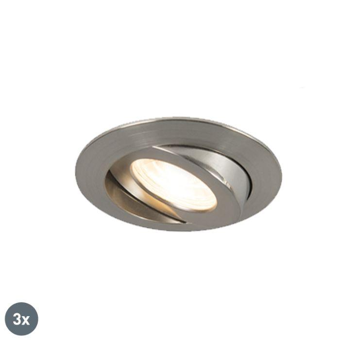 Set-3-focos-empotrados-acero-LED-IP44---RELAX-LED