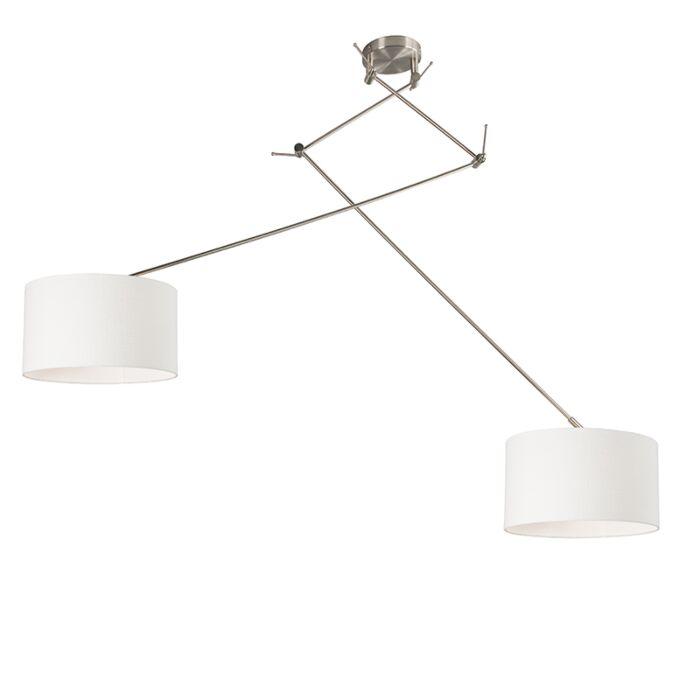 Lámpara-colgante-acero-pantalla-35cm-blanco-ajustable---BLITZ-II