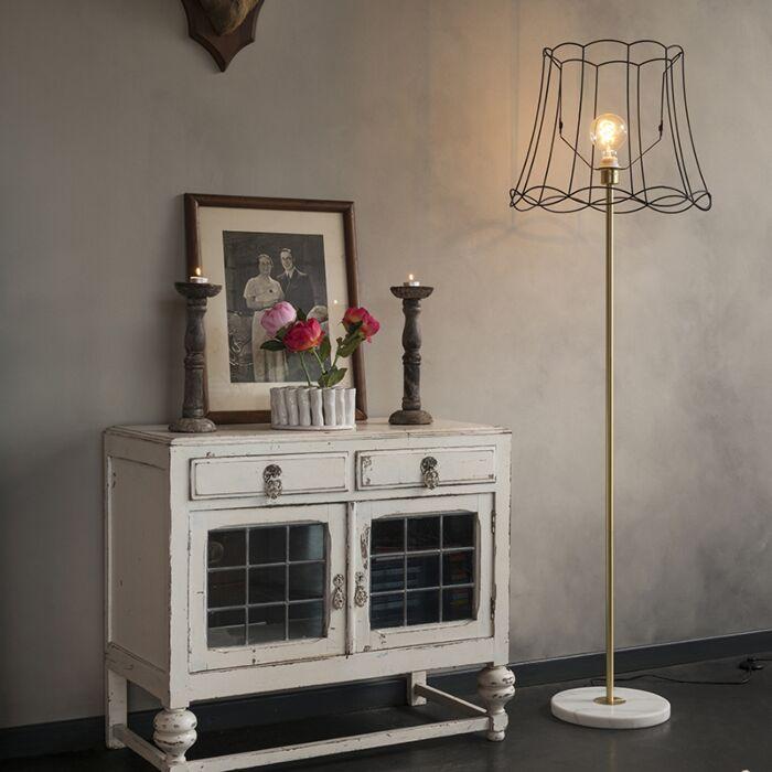 Lámpara-de-pie-retro-latón-pantalla-GRANNY-Frame-45cm---KASO