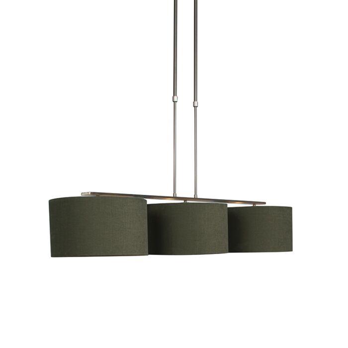 Lámpara-colgante-acero-pantalla-35cm-verde-musgo---COMBI-3-Deluxe