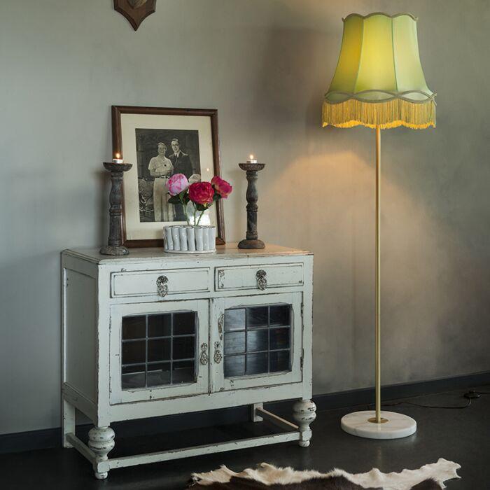 Lámpara-de-pie-retro-latón-pantalla-GRANNY-verde-45-cm---KASO