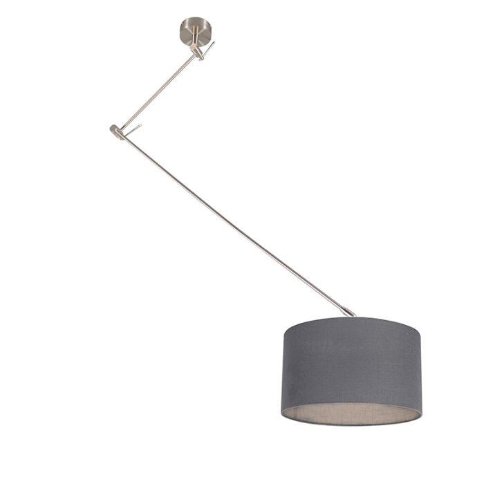 Lámpara-colgante-acero-descentrada-pantalla-35cm-gris-oscuro---BLITZ-I