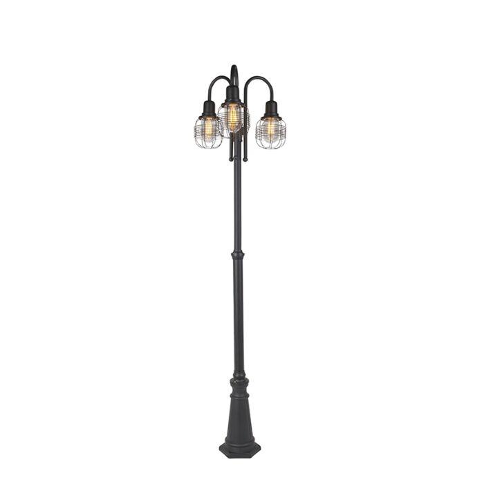 Farola-rústica-negra-3-luces-IP44---GUARDADO