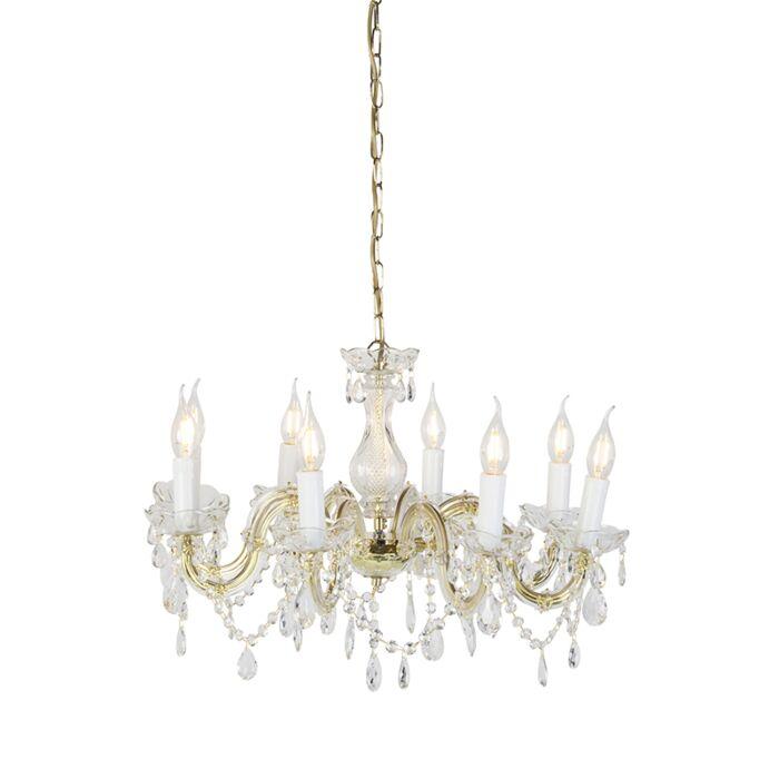 Lámpara-de-araña-oro-8-luces-transparentes---MARIE-Theresa
