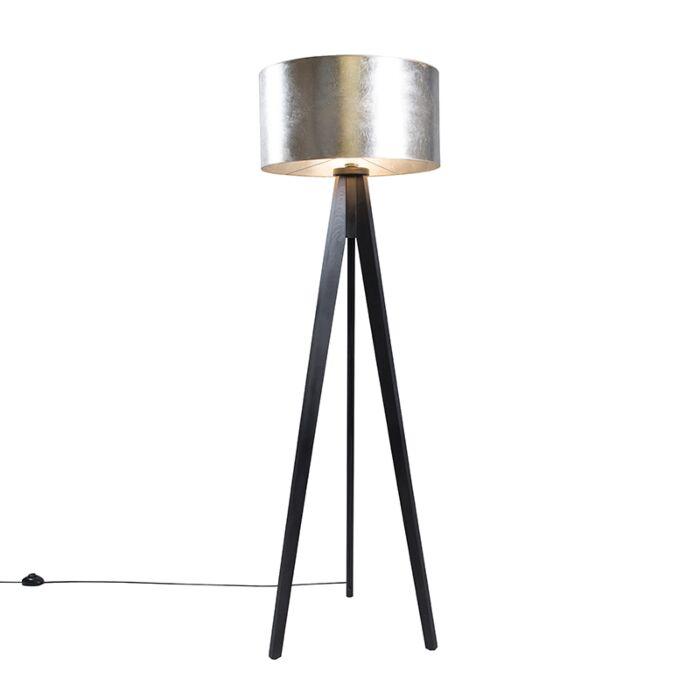 Lámpara-de-pie-TRIPOD-Classic-negra-con-pantalla-50cm-plateada-marronácea