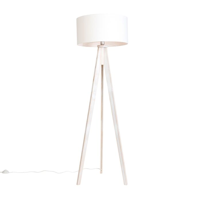 Lámpara-de-pie-TRIPOD-Classic-blanco-con-pantalla-50cm-blanco-roto