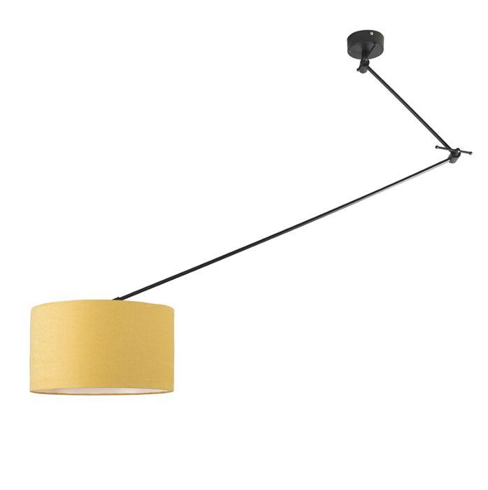 Lámpara-colgante-negra-pantalla-35cm-amarillo-ajustable---BLITZ-I