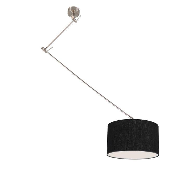 Lámpara-colgante-acero-descentrada-pantalla-negro-35cm---BLITZ-I