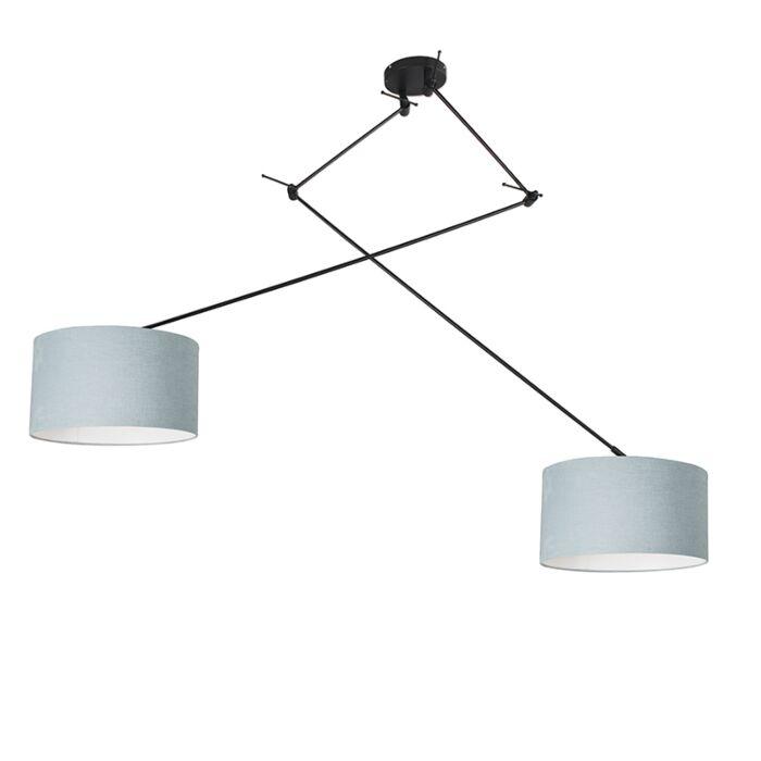 Lámpara-colgante-negra-pantalla-35cm-azul-claro-ajustable---BLITZ-II