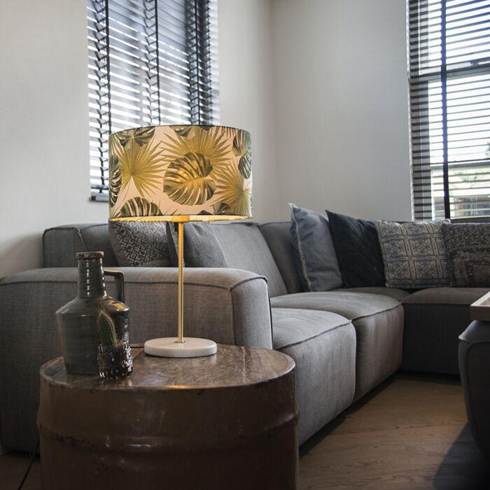 Lámpara-de-mesa-moderna-latón-pantalla-hojas-35cm---KASO