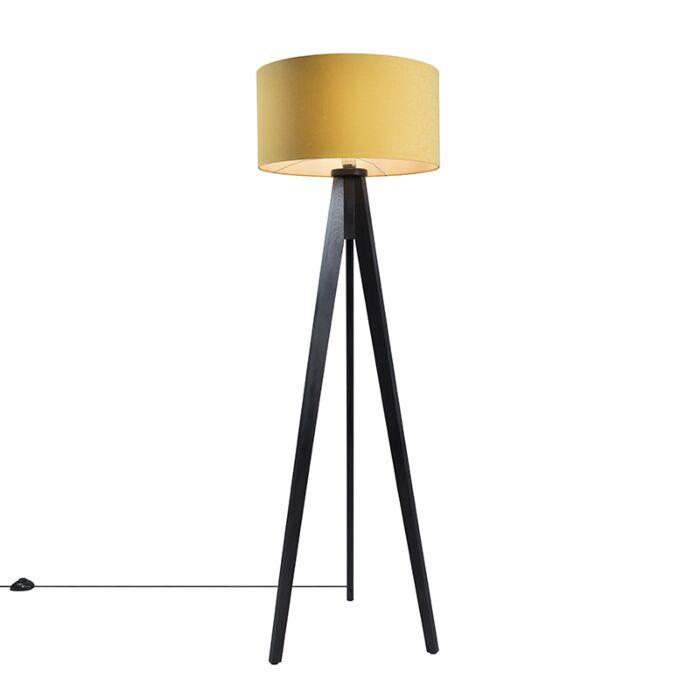 Lámpara-de-pie-TRIPOD-Classic-negra-con-pantalla-50cm-maíz
