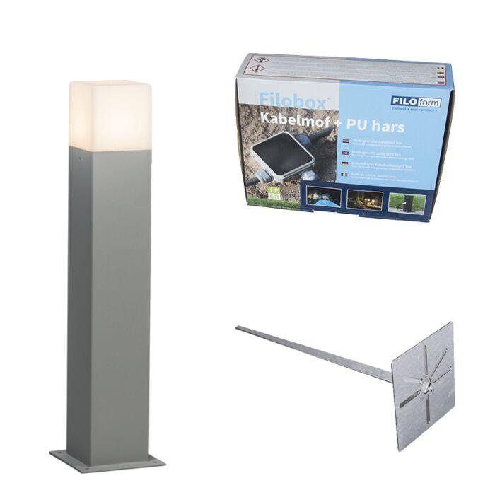 Baliza-50cm-gris-estaca-y-kit-conexión-subterránea---DENMARK