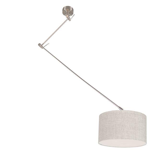 Lámpara-colgante-acero-descentrada-pantalla-gris-35cm---BLITZ-I